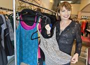 Anna Zornosa, founder and CEO of fashion startup Ruby Ribbon, shows off some of the company's shapewear.