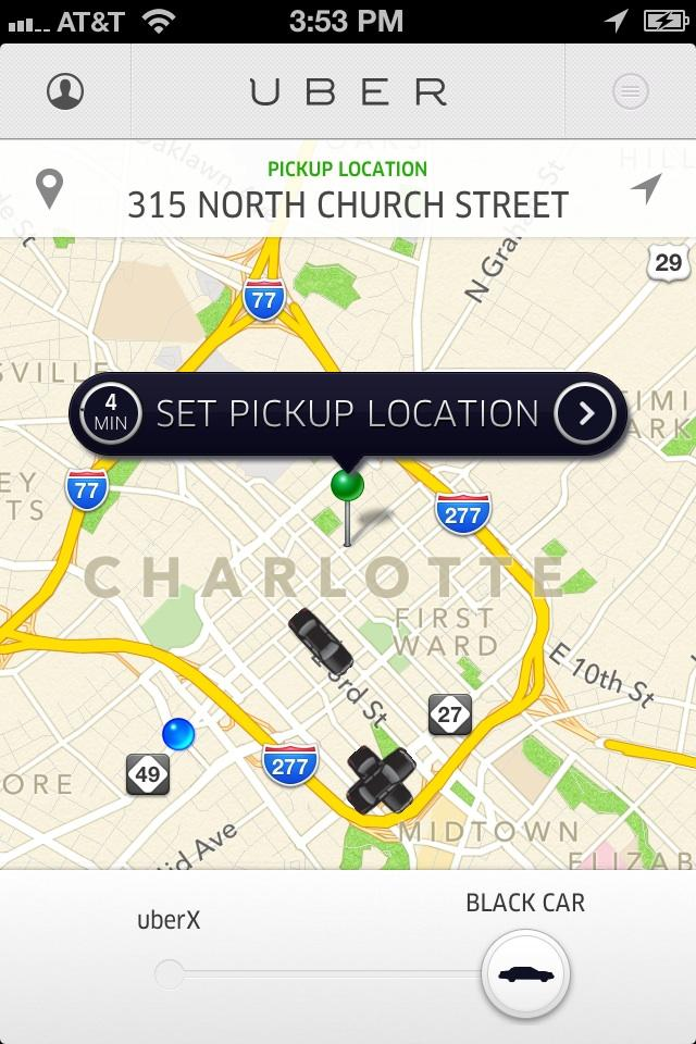 A screen shot of Uber's app shows the user's location, a pickup location and cars nearby. The service debuted in Charlotte this month.