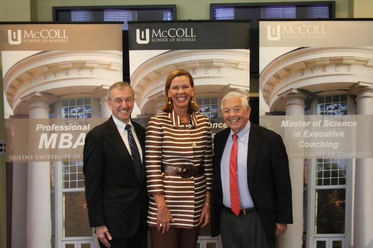 Tracy Grooms, center, has been hired to lead the Banking Initiative at Queens University's McColl School of Business. She is joined by dean Ron Shiffler, left, and Hugh McColl Jr., the retired chairman and CEO of Bank of America Corp.