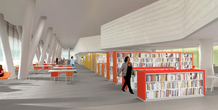 Inside the West End Library, designed by Core Group PC.