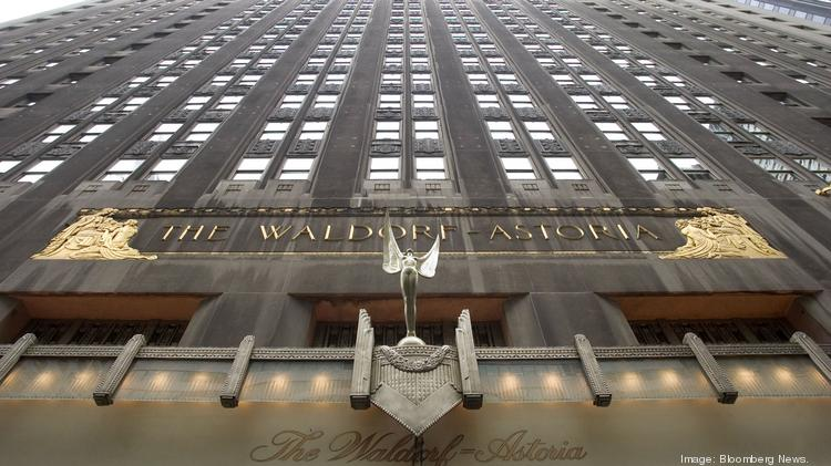 The facade of the Waldorf-Astoria hotel is seen in New York in 2004.