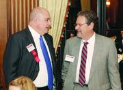 Panelist A.J. Harper, left, of Hospital Council of Western Pennsylvania and Jere Cowden of Cowden Associates.