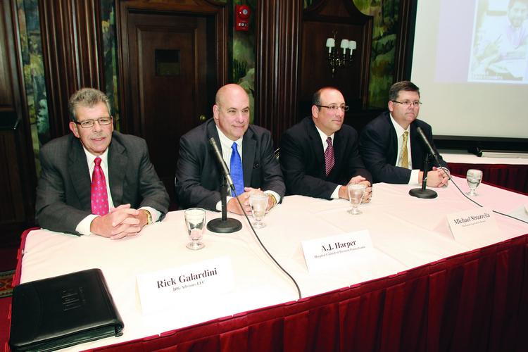 From left: JRG Advisors LLC's Rick Galardini, Hospital Council of Western Pennsylvania's A.J. Harper, Buchanan Ingersoll & Rooney's Michael Strazzella and UPMC's John Galley.