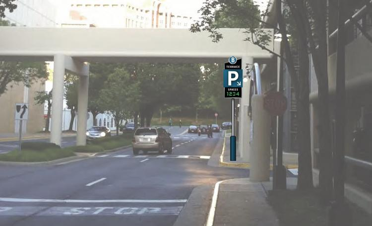 A rendering of a new Tysons Corner Center garage sign, with real-time space availability.