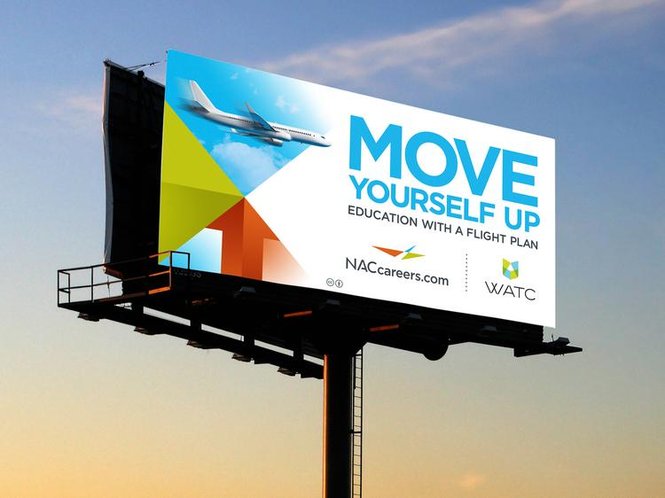 This billboard shows elements of the branding campaign Greteman Group has created for the National Aviation Consortium.