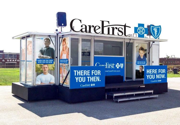 The exterior of a new mobile unit CareFirst is rolling out to raise awareness of the state's open enrollment period.