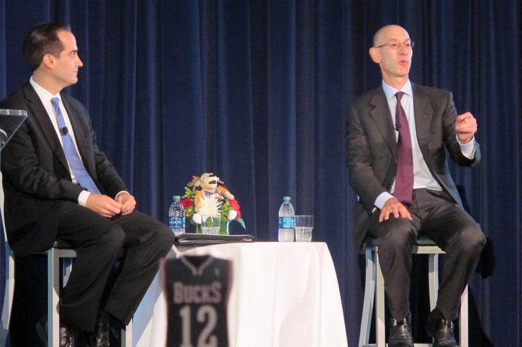 Incoming NBA commissioner Adam Silver, right, speaks at a luncheon for Milwaukee Bucks corporate sponsors Wednesday. Moderator Matt Parlow is at left.