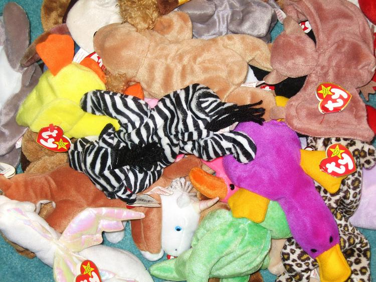 Beanie Babies were wildly popular small stuffed toys.