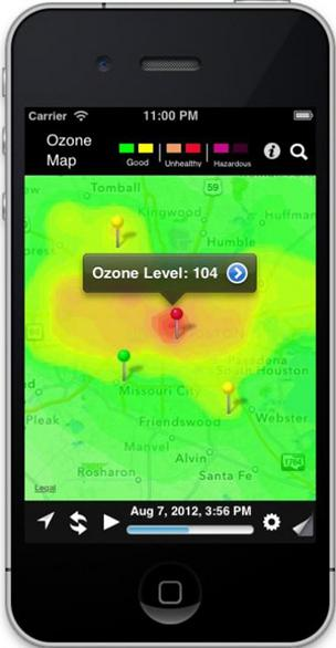 OzoneMap is an app for Apple and Android products that delivers real-time ozone reports for the city of Houston.