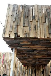 """Another view of """"Boxed Up,"""" an exterior art installation by artist and architectural designer Greg Lewis at the old Chutney's restaurant on 15th Avenue East on Capitol Hill."""