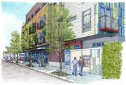 A rendering shows Stream Real Estate's project Stream Fifteen, a 36-unit apartment building with 3,500 square feet of ground floor retail at 605 15th Ave. E. on Capitol Hill in Seattle.