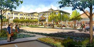 An artist's rendering of the planned Aptos Town Center project.
