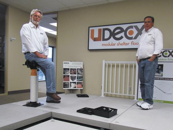 Decked Out: (Left to Right) John Van Leeuwen and Patrick Bertke are the founders of Miamisburg-based UDECX LLC, which makes and sells quick assembly deck and floor sets. The company continues to grow and the pair looks to sell their products across the country.