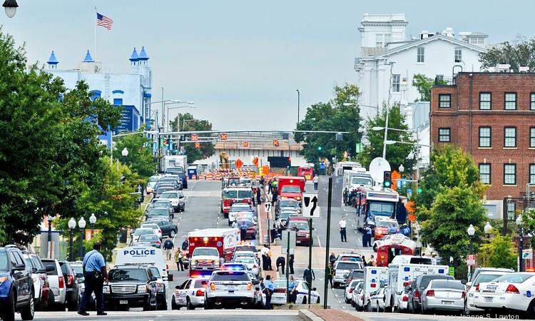 A scene from the Washington Navy Yard shooting on Sept. 16.