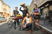 """Postmates' Bastian Lehmann (foreground) with some of his contractor workforce: """"It's a big idea that Ilove."""""""
