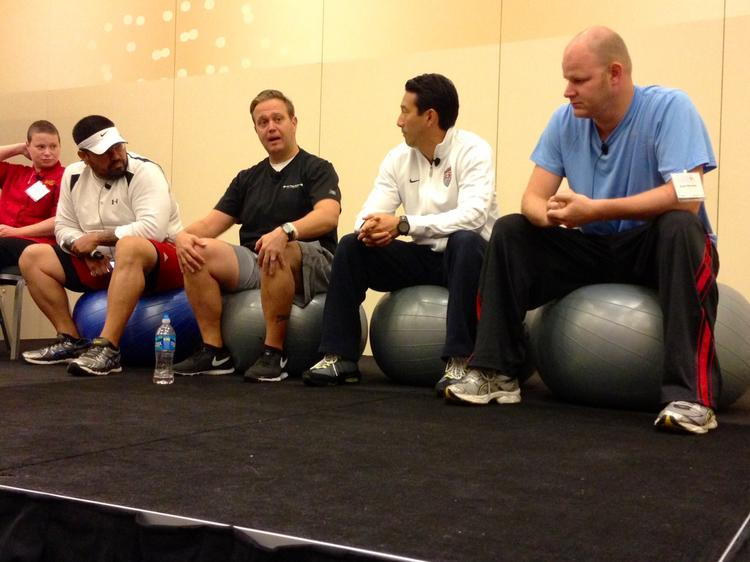 Shannon Overmiller, Will Artley, Todd Thrasher, trainer Jason Yoo and Scott Drewno discuss their weight loss contest.