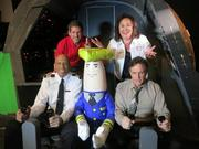 "From left, former NBA star Kareem Abdul-Jabbar, Wisconsin Tourism Department deputy secretary Dave Fantle, the ""autopilot"" from the film ""Airplane!"", Wisconsin Tourism secretary Stephanie Klett, actor Robert Hays"