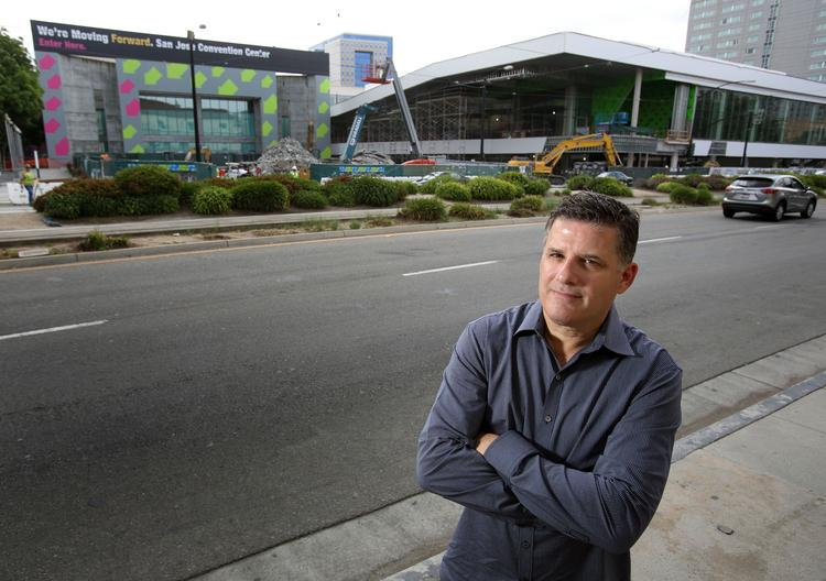 Dan Pulcrano, CEO of Metro Newspapers and Boulevards New Media, stands across from the San Jose Convention Center addition where he plans to hold a tech conference and music festival on Sept. 26-29.