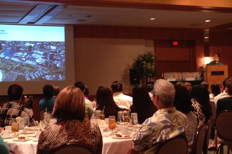 Scott Creel, senior marketing manager for Ala Moana Center, gives an update on the mall's $572 million redevelopment at the Hawaii Society of Business Professionals monthly luncheon.