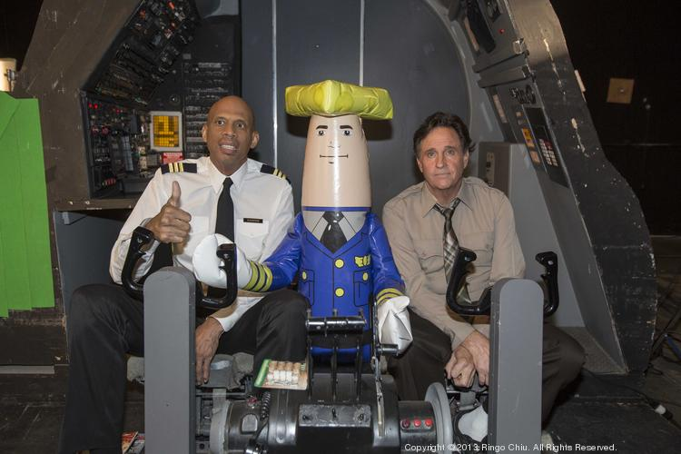 Actors Robert Hays and Kareem Abdul-Jabbar pose for photos in a filming scene for a TV commercials for the Wisconsin Department of Tourism in September 2013.
