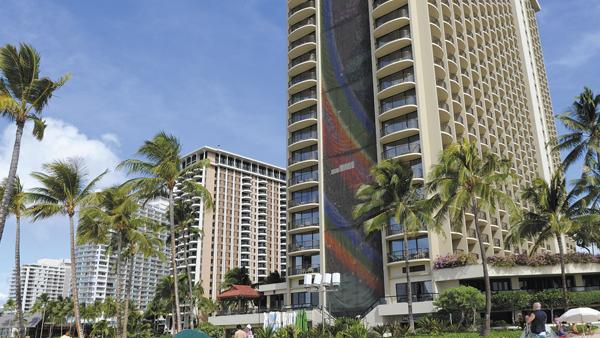 The Rainbow Tower at the Hilton Hawaiian Village Waikiki Beach Resort is just one many many buildings left in ruins by Godzilla's rampage.