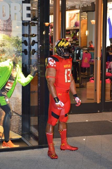 """Under Armour on Thursday unveiled its 2013 University of Maryland """"Pride"""" uniforms. The new uniforms include hand-painted helmets and fitted jerseys made of """"grid armour"""" material, which does not stretch."""