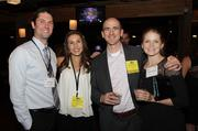 From left, Chris Leirer, honoree Rylie Teeter Leirer, honoree Nathan Kundtz and Vanessa Kundtz at the 2013 PSBJ 40 under 40 event at Showbox Sodo.