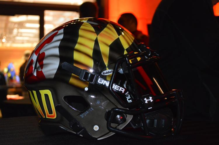 The helmets Maryland will wear Saturday against West Virginia were hand-painted.
