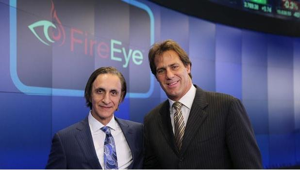 FireEye founder Asher Aziz, left, and CEO Dave DeWalt. FireEye went public in 2013 and just recently picked up Mandiant for nearly $1 billion in stock and cash.