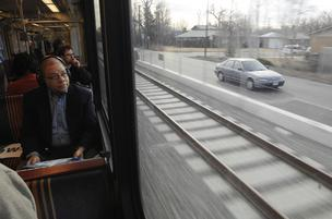 Journalists gets a glimpse of the Regional Transportation District's FasTracks West rail line during a ride March 20. The line is scheduled to open to the public on April 26.