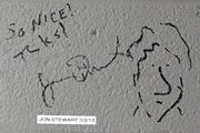 """Comedian Jon Stewart, host of """"The Daily Show with Jon Stewart"""" on Comedy Central, also has cartoonist chops. Stewart's brick sits amid a """"comedian wall"""" backstage at DPAC featuring signatures from Sarah Silverman and Amy Schumer, among others."""