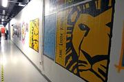 """Cast and crew from visiting Broadway shows paint intricate murals depicting images from their shows. Here, """"The Lion King"""" mural features the titular fierce cat, while one mural down """"Shrek: The Musical"""" proves imitation is the sincerest form of flattery."""