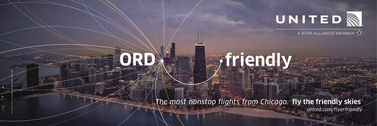 """A Chicago-centric ad that will be part of United Airlines' new iteration of its iconic """"Fly the Friendly Skies"""" campaign."""