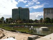 A view of Unity Plaza and Riverside Avenue from one of the outdoor eating areas of 220.