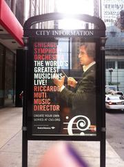 The CSO ad campaign also includes bus shelter ads featuring Music Director Riccardo Muti.