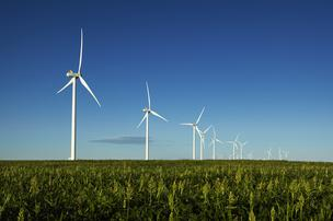 Vestas Wind Systems turbines, built in Colorado, spin at the Cedar Point wind farm in eastern Colorado near Limon. The wind farm was developed and is operated by RES Americas of Broomfield.