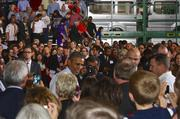 President Barack Obama visited Ford Motor Co.'s new stamping plant in Liberty on Friday to outline his plan for improving the lives of middle-class Americans.