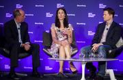 Don Kingsborough, vice president of retail and prepaid products at PayPal Inc., from left, Michelle Peluso, center, chief executive officer of Gilt Groupe Inc., David Steinberger, right, chief executive officer and co-founder of comiXolog, participate in a panel discussion at the Bloomberg Next Big Thing Summit in New York on Monday, Sept. 16. The conference convenes the most influential investors and industry leaders in innovation and science to explore the frontiers of how technology is changing the way we live, work, and interact.