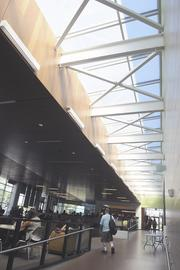 The student center's lounge provides a large area for students to socialize, eat, study and nap.