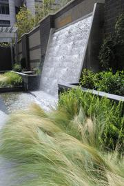 Water feature at Mercy Housing California's project at 7th and H streets.