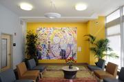 This colorful lobby provides a welcoming place for residents and visitors alike.