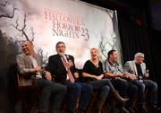 From left: Capcom Marketing Manager John Diamonon, American Werewolf in London Director John Landis, Universal Orlando creative team members Lora Wallace and Mike Aiello, and Senior Vice President of Entertainment Jim Timon have fun at the HHN press conference.
