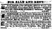 On May 10, 1865, the Civil War officially ended. In more local news, there was a saloon for sale at 98 Thames St., according to this Baltimore Sun ad.