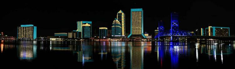 An artist's rendering of the Downtown skyline illuminated in Jacksonville Jaguars teal and gold.
