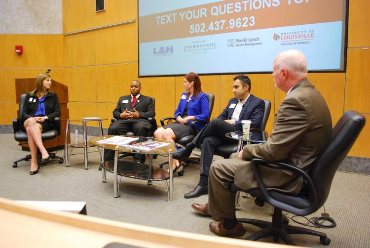 """A panel of Young Professionals talked about their vision's for Louisville at Business First's """"What's Brewing?"""" breakfast series. They are, from left: Abby Shue, Richard Rowland, Rebecca Weis and Ankur Gopal. Business First publisher Tom Monahan, right, moderated the panel."""