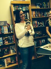 Andee Bergeron, a Facebook contest winner who got to hold Grumpy Cat at the event.
