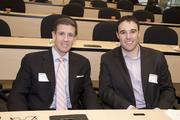 AgStart Pitchfest judges Fred Mendez of Rabobank, Taylor Bentley of Weintraub Tobin pose at the event.