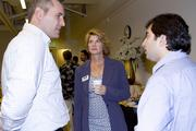 Douglas Bosley and Donna Chabrier talk with Lucas Arzola of Inserogen at the AgStart Pitchfest.