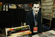 Quinn Allen of Portland's Mongrel Studios manned a booth to get the word out about the Portland movie and music studio.