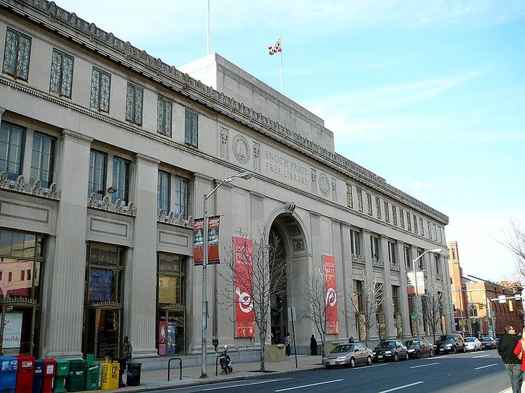 The Enoch Pratt Free Library's Central branch on Cathedral Street downtown.